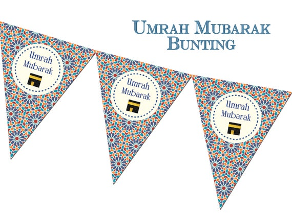 Umrah Banner: Umrah Mubarak Zellige Bunting Decorations Decor Banners