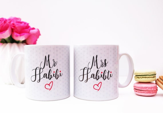 Muslim Wedding Gift: Mr Habibi & Mrs Habibiti Mugs Islamic Wedding Gift Set