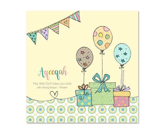 Aqeeqah Aqeeqa Aqiqah Islamic Baby Card Bb03
