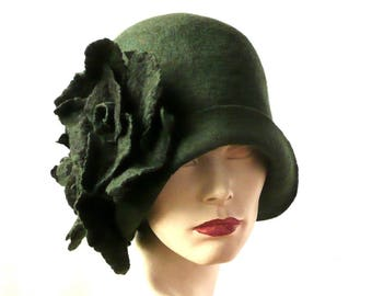 Green Felted Hats felt hats Cloche Hat Flapper 1920 Hat Green Hat Cloche  Victorian 1920 s Wool Women s hat green cloche hats poppy HAT 7b3b197e97b