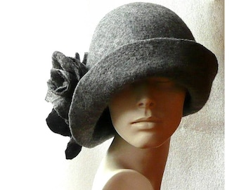 Gray Felted hat felt hats Women s hat Cloche Hats felted hats 1920s hat  Retro hat Grey Hat Victorian 1920 s roses felt hats ab849da6467