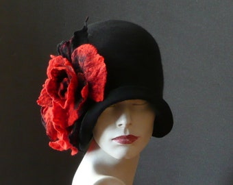 Black Felted Hats felt hats Cloche Hat Flapper 1920 Hat Black Hat Cloche Victorian 1920's Wool Women's hat Black cloche hats poppy HAT