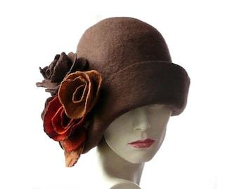 Felt hat Cloche hat felt hat felted hat 1920s hat Retro hat Brown Hat  Victorian 1920 s Wool Merino wool felt hat women s hat 6002a04719c