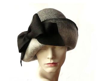 Grey cloche hat felt hat felted hat felt hats retro cloche hats 1920 hat 1920's womens hat cloche hats