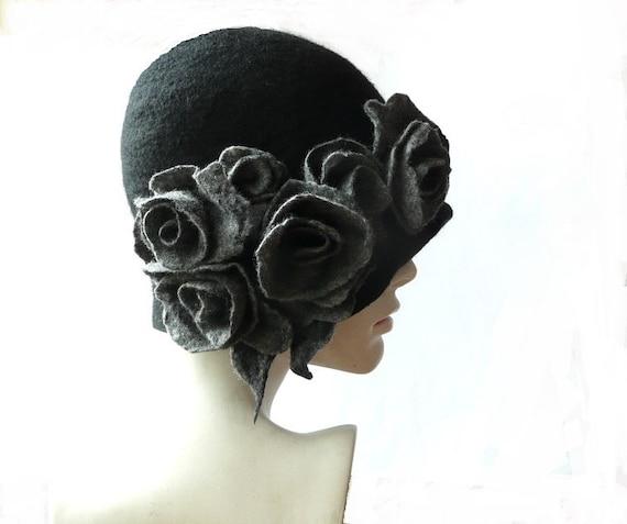 Cloche de fieltro sombrero de fieltro sombrero negro sombrero  5cc457c310d1