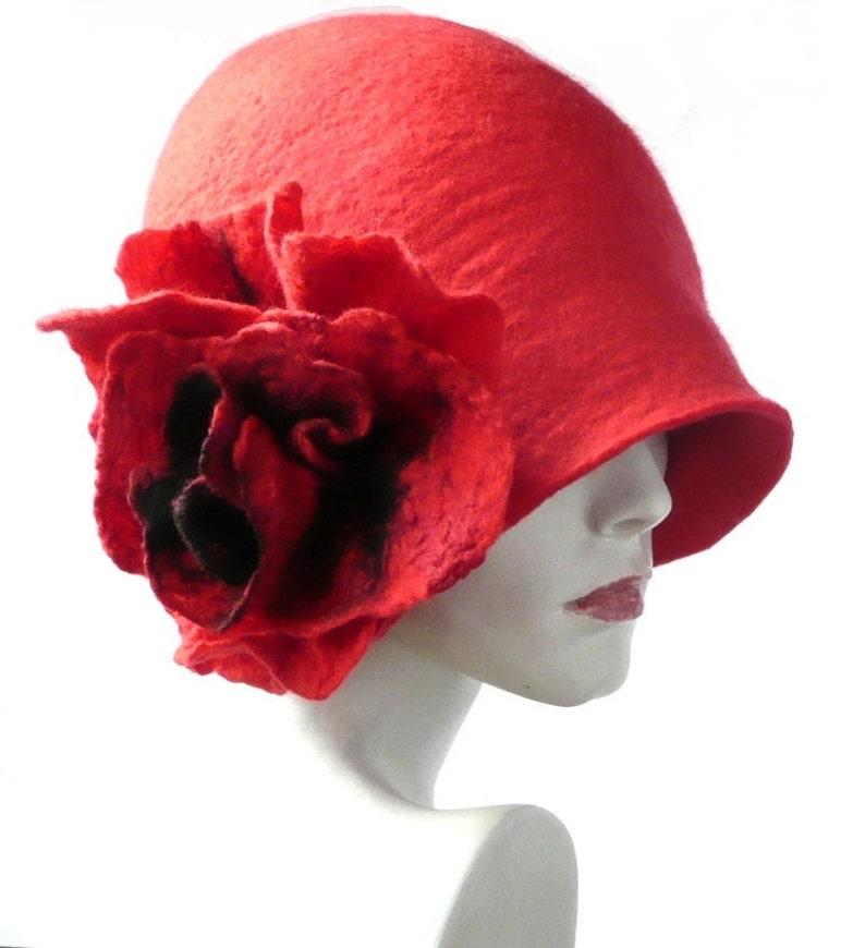Cappello di feltro rosso cappello in feltro arte cappello  bedb884187b3