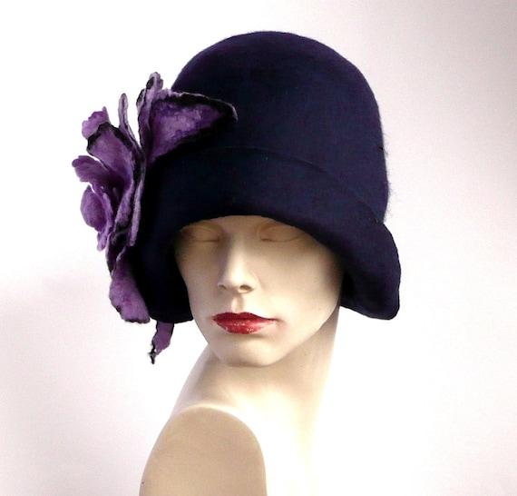 Navy blue Felted Hat felt hat Cloche Hat 1920 Hat Art  88436031b1c