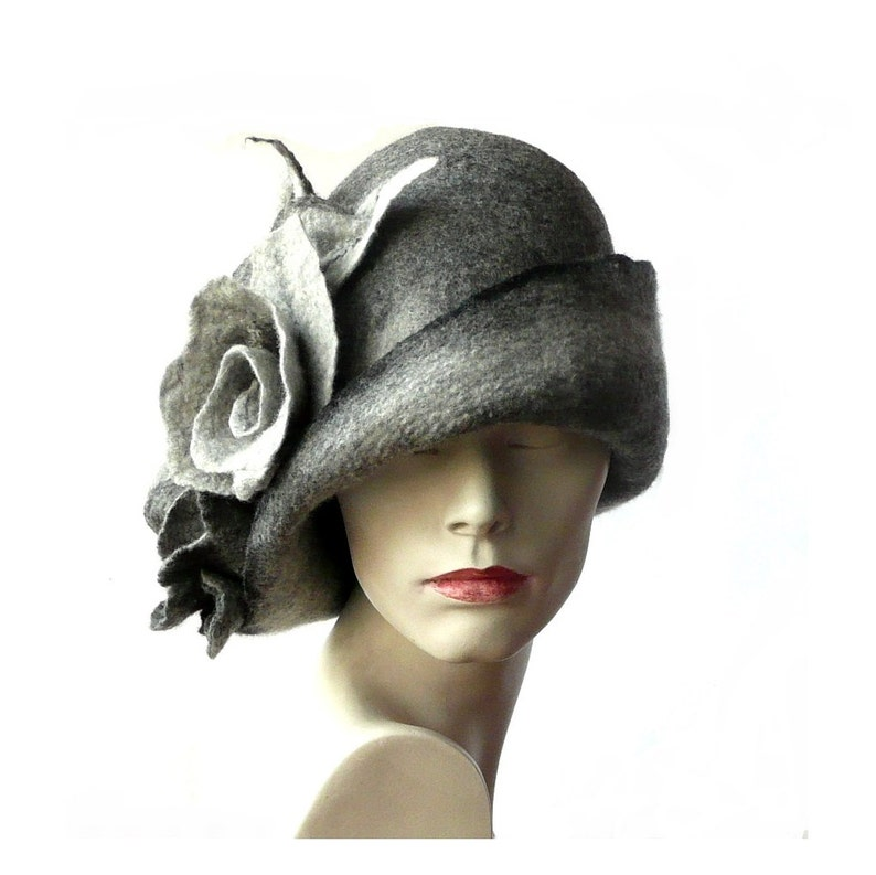 Grey Felted  Hat felt hat Cloche Hat Flapper 1920 Hat Art  Gray Hat Cloche Victorian 1920/'s  Wool Women/'s hat
