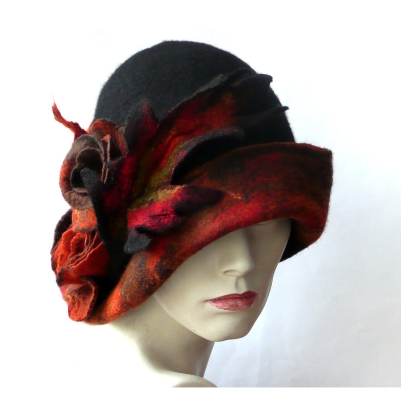 Sombrero de fieltro negro sombrero Retro Felted sombrero  fd7ff1ebadb3