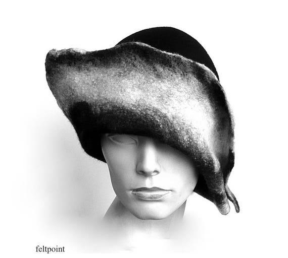 Fieltro del negro sombrero de fieltro sombrero único del  9639514e3dad