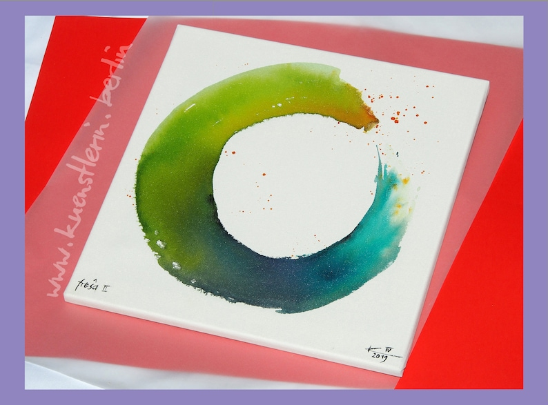 Zen circle, original ink painting, picture on stretcher, hang-ready,  abstract art, one-of-a-kind, original art, gift, square