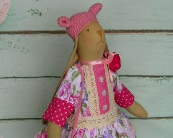Handmade Rag Tilda Rabbit Doll Rag Bunny Fabric Bunny Cloth Bunny Cloth Rabbit Rag Rabbit Rabbit Doll Cute Rabbit Doll Textile Bunny Figure