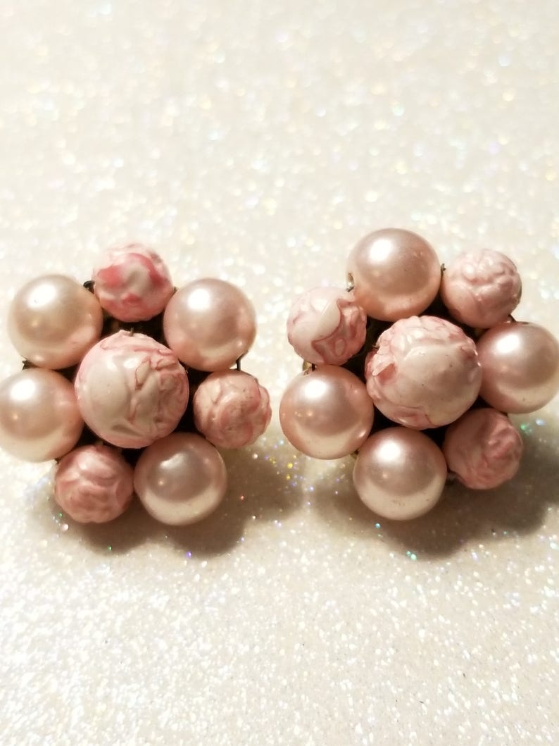 Vintage Light Pink Clip on earrings Marked Japan