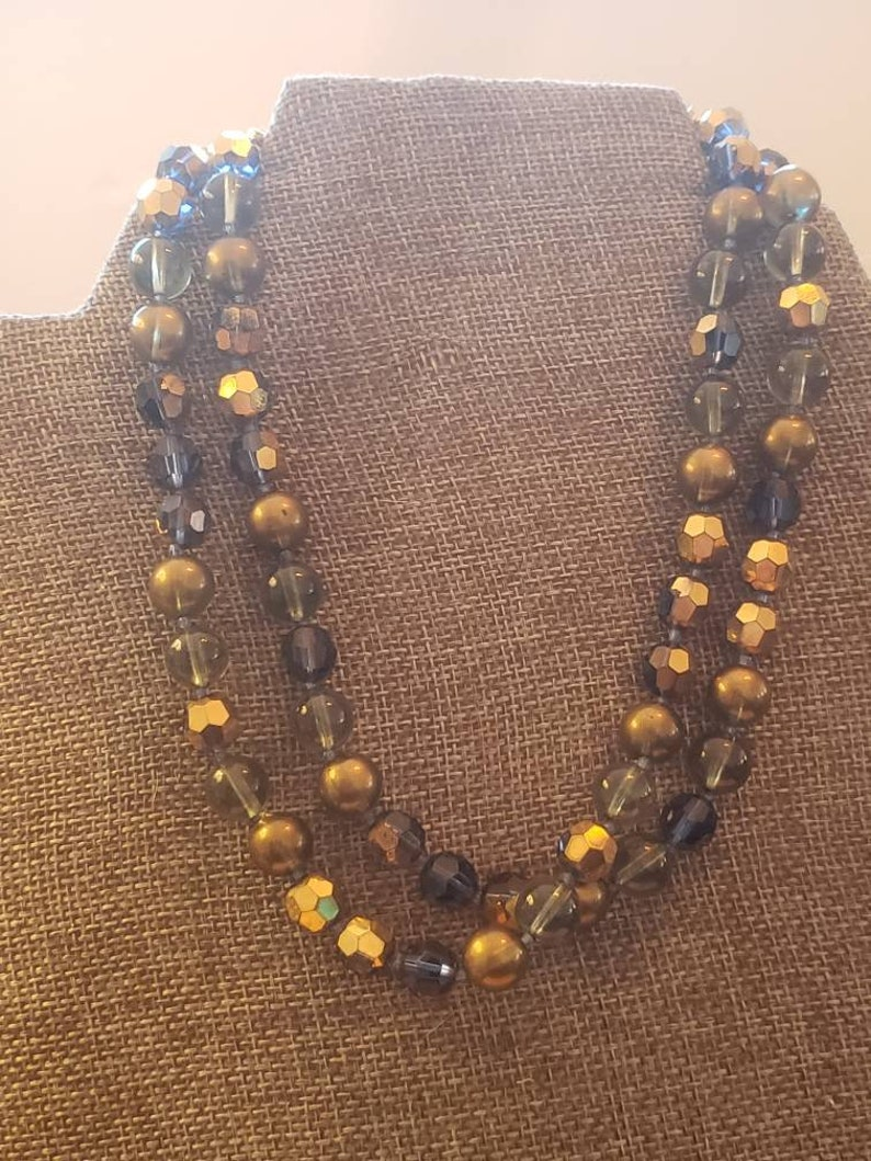 Vintage Double Strand Necklace Gold and Shades of Blue Signed Marvella