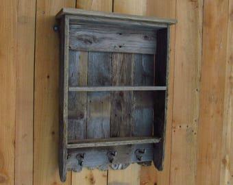 Reclaimed wood Shelf, Rustic Display case with Iron hooks, Farmhouse style, reclaimed red cedar, famrohusefurnituretx