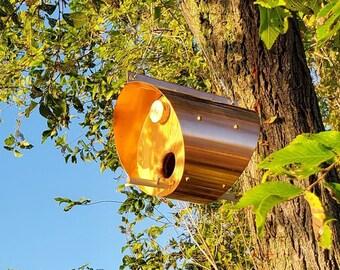 Handmade Copper Bird Feeder Round, Housewarming Gift for Minimalist Garden, Porch Decor Bird Lover Gift, Patio Hanging Decor