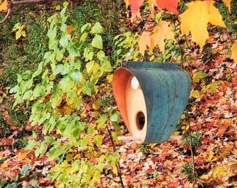 Copper Bird Feeder / Oxidized Copper and Cedar - The Bonnet / Fall Porch Hanging Decor / Housewarming Gift or Bird Lover Gift / Birdhouse