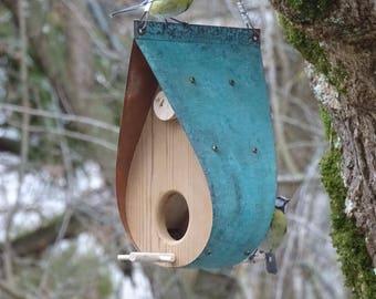 Copper Bird Feeder / Oxidized Copper and Cedar - The Teardrop / Fall Porch Hanging Decor / Housewarming Gift or Bird Lover Gift / Birdhouse