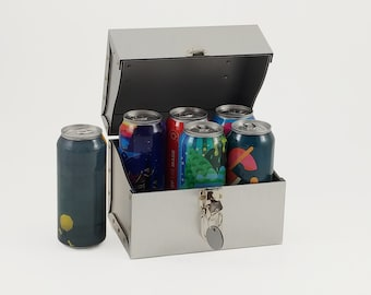 Silver Small Treasure Chest, Aluminum Keepsake Box, Personalized Beer Caddy at night and Lunch Box during the day