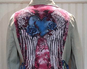 Womens upcycled duster jacket cream blue pink flowered bling angel wings repurposed tee vintage blue buttons pink sleeve trim pockets
