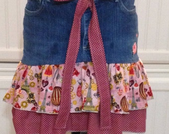 Women's denim skirt, pink rose embroidered pocket, denim and Paris red ruffled skirt, repurposed denim skirt, dark red print, size 14P rider