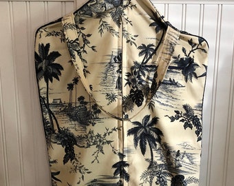 Garment bag travel lite navy blue cream Hawaiian print toile upholstery fabric rope trim zip pocket light weight travel bag handle carry all