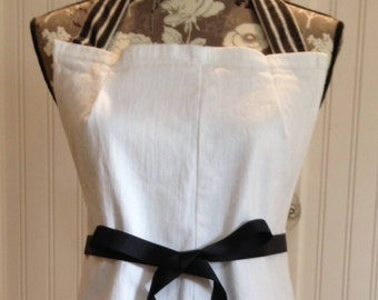 Denim full apron, women's denim apron dress, Black striped ruffle black ribbon ties white denim shabby chic upcycled denim black white bikes