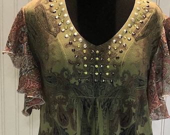 Womens empire waist shirt olive green rust gold print sheer circle sleeves V neck bling easy fitting upcycled silver threaded sleeves