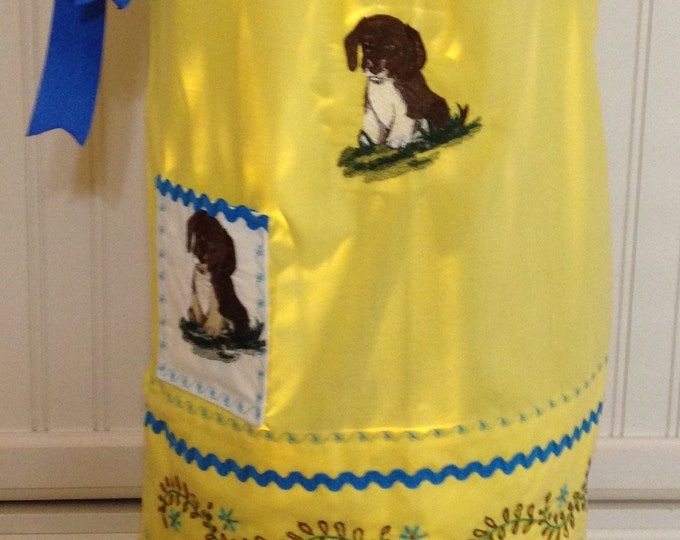 Vintage pillow case dress girls dress yellow pillow case blue brown flowers puppy embroidery blue ricrac trim blue grosgrain ribbon ties