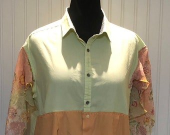 Womens upcycled orange green shirt button front tunic shirt 2X easy fit cotton shirt asymmetrical hem spring green cantaloupe boho chic
