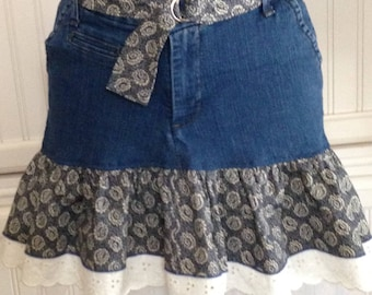 Women's denim skirt, cotton ruffled denim skirt, denim with eyelet lace  trim skirt, repurposed denim skirt, Navy blue print, blue denim