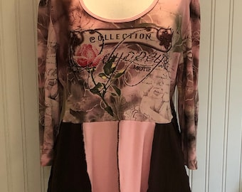 Womens empire waist dress tunic pink brown bling print flare tee tunic easy fitting upcycled tee bling pink poppy theme size L pockets