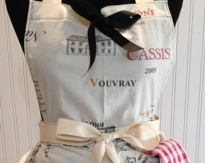 Chef style full apron Paris theme Wine Theme cassis winery script cream red black cream ties long ties large pocket easy fitting towel loop
