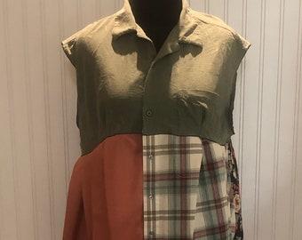 Women XXL Tank Dress upcycled shirt dark green cream green rust plaid Flowered pocket tank dress A line cotton light sleeveless cover up