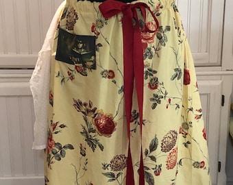 Womens long steampunk skirt xxl skirt yellow red burgundy grosgrain ribbon drawstring waist steampunk pocket vintage Cream eyelet lace