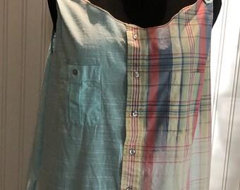 Women XXL Tank Dress upcycled shirts aqua blue yellow red plaid two pocket tank dress A line ruffle hem light weight cotton  button strap