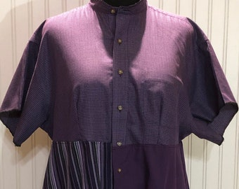 Womens purple striped checked upcycled XL shirt tunic shirt two pocket cotton shirt repurposed shirt purple striped check solid shirt