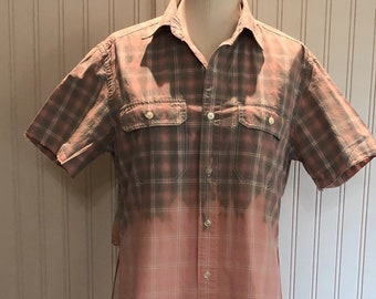 Women shirt Peach pink gray plaid half sleeves split hem repurposed cotton shirt flowered sheer tee overlay back bleach faded bottom