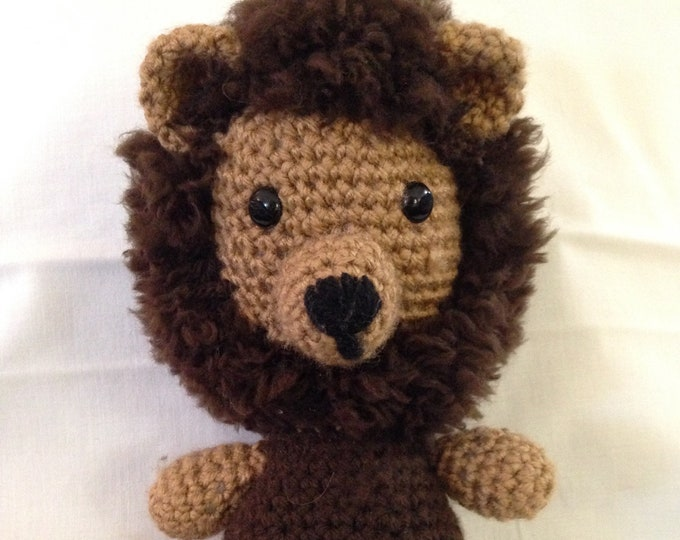 Crochet lion brown tan lion Childs toy stuffed lion small lion handmade lion crocheted lion with mane crochet stuffed animal toy