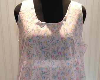Women tunic pink blue flowers light cotton tunic Large XL tunic one size tunic flower print cotton tunic pink blue on pink ruffle back