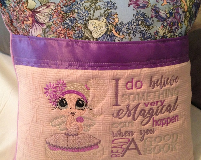 Pocket pillow fairy reading pillow light blue child reading pillow blue fairy fabric zip close purple satin trim pink flannel back