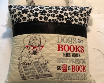 Pocket pillow puppy dog reading pillow dog paw prints black white childs reading pillow handle dogs and books quote embroidered puppy dog