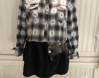 Womens flannel shirt black aqua plaid upcycled flannel western shirt tunic length flannel shirt altered couture shirt black long hem shirt