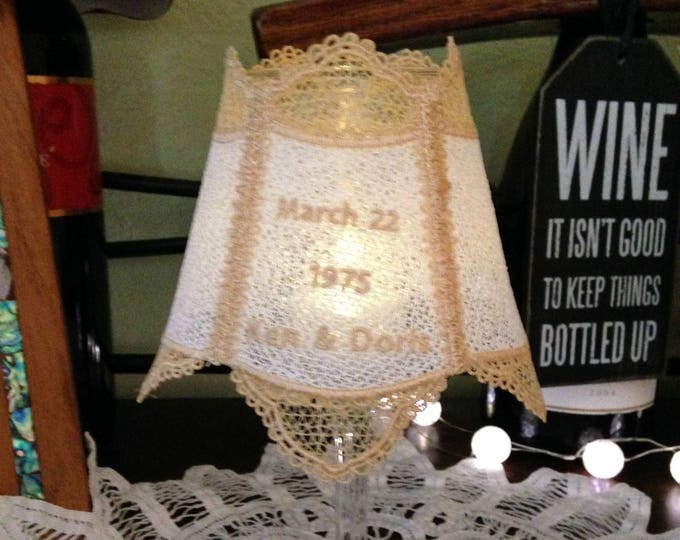 Lace Wine glass shade tea light shade lace accent shade Custom bridal lace light shade handmade lace wedding anniversary gift accent shade