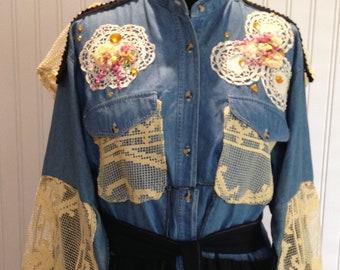 Women's denim jacket vintage lace long sleeve jacket upcycle denim jacket black twirl skirted jacket boho chic black braid trim large denim