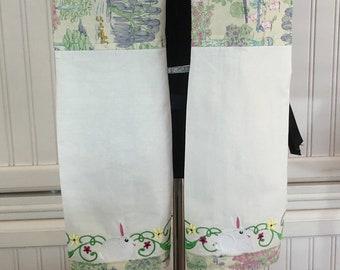 Womens apron boa towel apron bunny toile cotton white rabbit embroidered cotton towel no tie apron scarf cotton flour sack towels