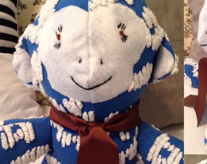Blue White vintage chenille stuffed monkey White felt appliqué embroidered face Vintage chenillle  brown grosgrain ribbon tie medium sized