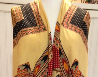 Vintage up-cycled womens vest red gold black repurposed vintage tablecloth south west colors large cotton easy fit vest boho chic