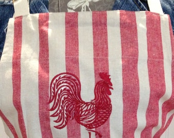 Womens full apron chef style apron cotton red cream stripe apron embroidered rooster apron rooster flowers embroidered apron full coverage
