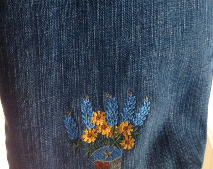 Texas Tote Bag Denim Blue Boot flowers embroidered washable denim heavy duty straps lined zipper pocket inside pocket 9by13 repurposed denim